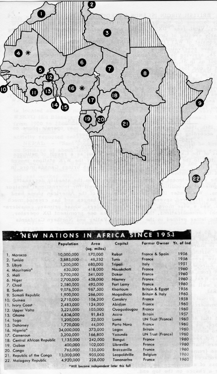 Map Of Africa 1960.1960 Map Of Africa Entities