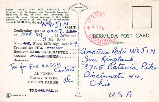 Antique QSL Card + Photo - Bermuda Island - VP9DC