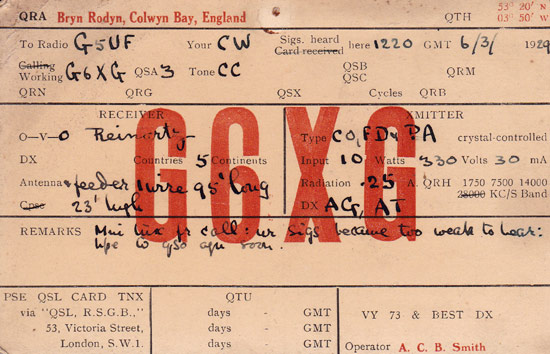 Antique QSL Card - Wales - G6XG